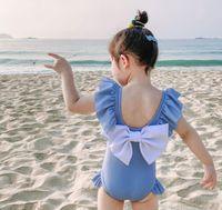 Çocuk mayo karikatür çocuk mayo backless büyük yay bikini 2021 kızlar mayo çocuk mayoları