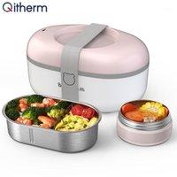 طباخ الأرز الكهربائي متعدد التدفئة الكهربائية مربع الغداء المحمولة الباخرة الباخرة الفولاذ المقاوم للصدأ الداخلية الساخنة حاويات دفئا 1