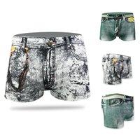 Fashion Men's Sexy Denim Stampato Dollaro Pocket Boxer Jeans Stampa Pantaloncini Pantaloni Pantaloni Merdesanti Abbigliamento Skin-friendly per gli uomini Nuovo F1