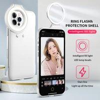 LED 뷰티 셀프 링 라이트 휴대용 플래시 카메라 전화 케이스 커버 아이폰 12 및 아이폰 12 프로 전화 케이스에 대 한 미니 손전등