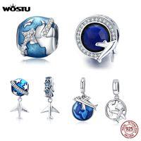 WOSTU Travel вокруг World Charms 100% 925 Стерлингового серебра Серебро Салон Blue Bear Fit Оригинальный браслет Подвеска DIY Ожерелье Ювелирные изделия