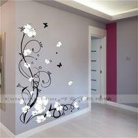 Grote Vlinder Vine Bloem Vinyl Verwijderbare Muurstickers Boom Wall Art Decals Muurschildering voor Woonkamer Slaapkamer Home Decor TX-109 201202