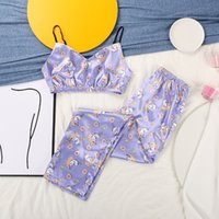 HiHoc Print Sleepwear Einhorn Muster Satin Pyjamas V-Ausschnitt Home Anzug Für Frauen Pyjama Zwei Teil Set Top Und Hosen Sexy Nachtwäsche Y0112