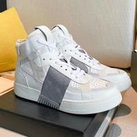 مصمم الرجال VL7N أحذية رياضية نساء منصة المدربين الساقين الجلود الأزهار النسيج الأبيض الأحمر الأحذية عالية أعلى و المنخفضة أعلى الأحذية عارضة 265