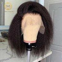 Kinky Düz Peruk Bob Dantel Ön Peruk Kısa Bob Peruk Tam Dantel Ön İnsan Saç Peruk PrePlucked Dantel Peruk 150% Yoğunluk