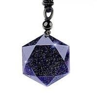 Collares Colgantes Piedra Natural Obsidiana Black Obsidian Seis estrellas Collar Hombres Sandstone Lucky Love Crystal Pendulum Energy Jewelry para mujer1