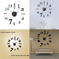 Família DIY Adesivo de Parede Relógio Originalidade Casa DIY 3D Acrílico Acrílico Decoração Decoração Números Espelho Relógios Relógios 5 6JW F2
