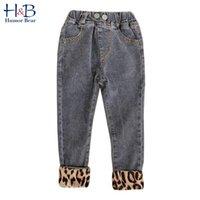 Humor urso roupas infantis novas calças infantis meninas leopard jeans primavera e outono algodão bebê crianças crianças crianças 201204