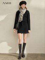 AMII Minimalista Hong Kong Chic Media Falda 2019 Invierno Nuevo Pequeño Tipo A Alto Show Fin Thin Wool Skirt1