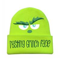 2020 Natale riposarsi Grinch Face Game Berretto Berretto con parole Pattern Stampas Guida per esterni Equitazione Sci Unisex Adulti Maglia Cappello Cosplay