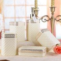 Set in ceramica a cinque pezzi Bianco in porcellana in porcellana in porcellana Set da bagno Serie Bagno Accessorio Bagno Kit di lavaggio