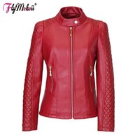 Giacche da donna Flymokoii Women Giacca in pelle Molla Plus Size 4XL 5xL Motore Solid Silid PU Lady Motorcycle Coats