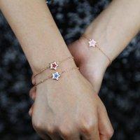 Charm Armbänder Empfindliche süße Art Schmuckkette Hand Sternauge Hamsa Muster mit bunten Emaille Armband Armreifen Geschenk für junge Mode L