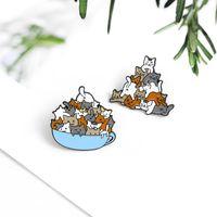 Pins, Broşlar Bir Kedi Bir Grup Sevimli Hayvanlar Emaye İğne Kahve Fincanı Özel Broş Karikatür Yaka Pin Rozeti Hediye Gibi arkadaşlar için