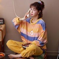 Плича зима теплый фиолетовый бархатный пижамный набор для женщин моды домой Домашняя фланелевая спящая одежда костюм сатин шелк мягкий плюш новая одежда