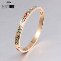 Браслет эмаль браслетов из нержавеющей стали золотой цвет, открытый для женских ювелирных изделий браслет высшего качества фабрика y1126
