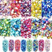 Yeni Karışık Boyutu AB Renkli Kristal Nail Art Rhinestones Olmayan Düzeltme Flatback Cam Taşlar 3D Glitter Süslemeleri DIY Çivi Için Gems