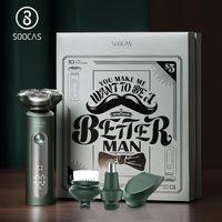 Soocas Electric Shaver S5 Verde 4 em 1 Homens Facial Limpeza Escova IPX7 Impermeável Recepcionável Razors Nariz Ear Ear Trimmer