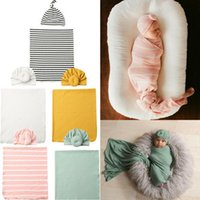 Newborn Baby Boys Swaddle Blanket Sleeping Muslin Wrap Hat S...