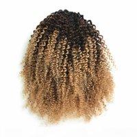 Ponrones de cheveux humains bouclés avec bang Fringe 1B 27 ombre blonde cordon de cordon de patte de queue de queue de poney afro Kinky bouffée pince en extension des cheveux