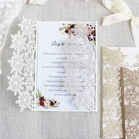 Invitaciones de copo de nieve de corte láser brillante Rose Gold Silver Bling Invitación de boda Conjunto de impresión personalizada 50pcs T200115