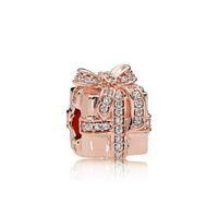 S925 Bijoux en argent Sterling Bijoux DIY Perles Convient à un charme de style Pandora pour bracelets Pandora pour femmes pour l'Europe européenne Rose Gold BraceletNecklace