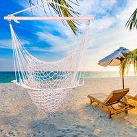 Outdoor Hanging Swing Swing Cotton Hängematte Seil Air / Sky Stuhl Solid Seil Yard Patio Porch Garden Vacation Camping Familienspiel Beige Kostenloser Versand