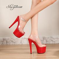 Sandales Shuzumiao Chaussures Femme Chaussures Modèle de voiture Super High High Heels 17 cm Plate-forme de talon raffiné Cristal transparent Cristal Elegant Gladiato