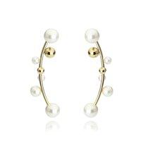VAROLE мода белая жемчужная несоответствующая манжета серьги серебряные цветные зажима уха манжеты альпинисты гусеничные серьги женские драгоценные камни Bijoux
