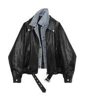 2020 neue frauen coole mode umdrehen kragen denim jeans patched pu leder lose jacke mantel plus größe casacos