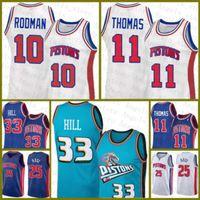 "Derrick 25 Rose Isiah 11 Thomas Dennis 10 Rodman Grant 33 Hill Detroit ""피스톤""2020 2021 New Basketball Jersey Black Mens"