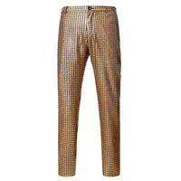 Erkek Pantolon Erkek Gece Kulübü Metalik Altın Takım Elbise Düz Bacak Pantolon Erkekler Hipster Hip Hop Streetwear Casual Erkek Pantalon Homme