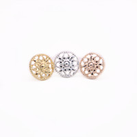 Round Style Cute Flowers Stud Earrings Hollow out Design Gol...