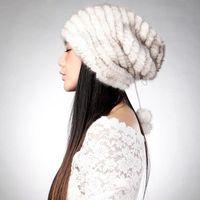 Beanie / Kafatası Kapaklar Örme Gerçek Şapka Kürk Kap Ponpon Dekorasyon Beanie Tasarım Başlık Headdress Kafa Isıtıcı FS14620