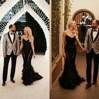Bretelles sirène robes de soirée Custom Made robe noire de bal avec des plumes balayage train fête officielle robes Robes de soirée