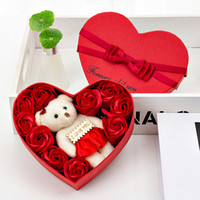 Valentine Day Rose Gift Box 10 Flowers Soap Flower Gift Box Rose Flower Boxs Bear Bouquet Wedding Birthday Party Decorations Gift GWA2924