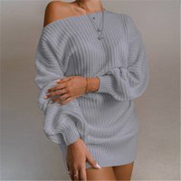 Women Strapless Knitting Sweater Dress Fashion Trend Long Sl...
