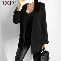 RZIV Women's Blazer Anzug Jacke Mantel Lässig Massivfarbe Einzelner Button Mantel OL BLAZER Anzug LJ201212