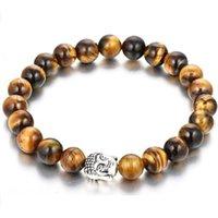 Perlen Armband Heißer Verkauf 8mm Tigerauge Stein Buddha Perlen Charme Armband
