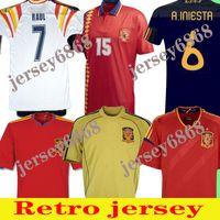 2010 Retro Jersey 1994 Raul Xavi Hierro Luis Ensrique Xavi Alonso Caminero Iniesta Puyol Pique David Villa Torres 2008 2012 1996