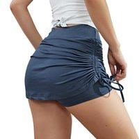 Women's Tennis Skirts Sports Running Workout Golf Skorts Stretch Adjustable Drawstring Mini Dresses with Leggings