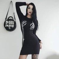 Casual Dresses Wowen Gothic Langarm Rundhals Halloween Skeleton Hand Sexy Enge Mini Dehnbar für Lady1
