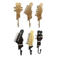 Music Gitarre Form Haken Wandmontierter Kleidergestell Holzkleidung Pegs Rustikale Finish Einfache Design Dekorativer Haushalt