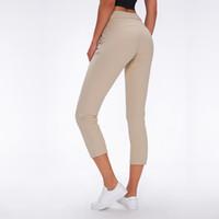 Tissu Soft Naked Tissu Yoga Capris Sport Pantalons Sport Femmes Croîmes Taille Taille Fitness Pantalon de survêtement avec deux poches latérales J1216