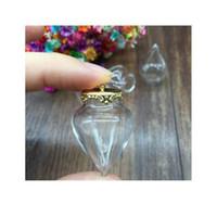 100 مجموعات واضحة قطرة الماء شكل زجاج غلوب النتائج مجوهرات سحر الزجاج رغبات زجاجة غطاء قلادة قلادة قلادة مع 1 bbyuje