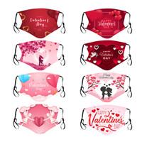 패션 페이스 마스크 세탁 가능한 입 커버 남성을위한 발렌타인 데이 얼굴 장식 방풍 보호 디자이너 마스크 W-00449