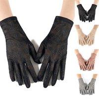 خمسة أصابع قفازات 1 زوج الصلبة اللون الدانتيل واقية من الشمس الآداب قفاز سيدة المعصم القيادة حماية