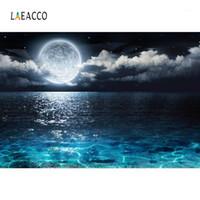 Laeacco Moon Bewölkt dunkelschwarzen Meeresoberfläche Baby Nacht landschaftlich fotografische Hintergründe Fotografie Kulissen für Foto Studio1