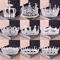 Moda Gümüş Tiara Ve Kronlar Kristal Kraliçe Prenses Diyadem Gelin Yuvarlak Taç Saç Takı Düğün Kadınlar için Saç Aksesuarları T200110