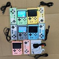 최고의 휴대용 복식 휴대용 게임 콘솔 레트로 비디오 게임 플레이어 500 in 1 게임 8 비트 3.0 인치 다채로운 LCD 크래들 소매 패키지